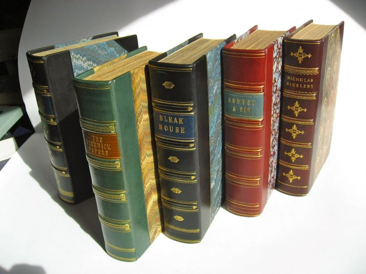 Half leather Dickens bindings.